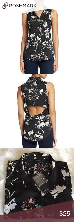 •Jessica Simpson Blouse• A colorful floral print brightens a breeze woven shirt topped with a pout collar in a sleeveless silhouette.A back cutout furthers the summery style/front button closure/100% polyester/machine wash cold/new with tags/thanks for looking                                                                    ❌No Trades❌ Jessica Simpson Tops Blouses