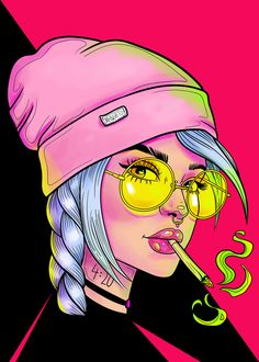 "Illustration of a stoner girl ""Neon Ride"". Arte Dope, Dope Art, Pop Art Drawing, Art Drawings, Arte Grunge, Grunge Art, Arte Do Kawaii, Psychedelic Drawings, Marijuana Art"