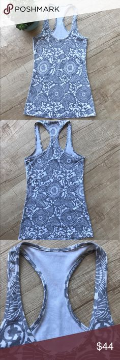 """Lululemon Cool Racerback Tank Beachy Floral Fossil * Lululemon Cool Racerback Tank * """"Beachy Floral Fossil"""" Print *  BUST (laid flat, on one side) - 13"""" * LENGTH - 26.5"""" * Luon material * please note, the size tag has been removed, please refer to measurements for sizing. & there is slight discoloration on the neckline, it is not noticeable when worn.  * otherwise in excellent used condition    * no trades/paypal/off cite transactions * all measurements are approximate lululemon athletica…"""