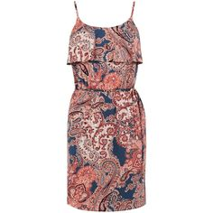 Oasis Phea Paisley Cami Dress ($51) ❤ liked on Polyvore featuring dresses, navy, women, navy cami, fit and flare dress, red fit and flare dress, red cami and navy summer dress