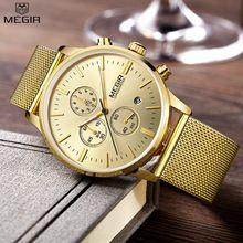 MEGIR Chronograph men's quartz-watch stainless steel mesh band gold watches Slim men watches Multi-function sports Wristwatches(China (Mainland))