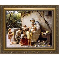 Adoration of the Children Picture*Rustic Wood Plaque Catholic Art This stunning classical image shows our Blessed Mother Mary with the divine Child Jesus seated on her lap, and precious little ones coming with gifts of flowers and devotion. Catholic Store, Catholic Art, Blessed Mother Mary, Mary And Jesus, Classic Image, Framed Art, Artwork, Pictures, Rustic Wood