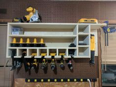 Genius Tool Storage Ideas & Organization Hacks For Your Garage Room 37 Power Tool Storage, Garage Tool Storage, Workshop Storage, Diy Storage, Storage Racks, Power Tools, Garage Workshop, Lumber Storage, Workshop Ideas