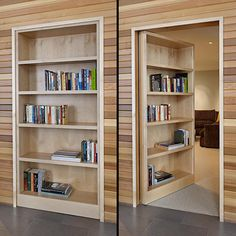 Awesome Secret Rooms Designed Elegantly and Uniquely: Door Design Ideas With Bookcase Hidden Door Decor With Wood Plank Wall And Grey Flooring Hidden Door Bookcase, Door Shelves, Hidden Cabinet, Bookcase Plans, Glass Shelves, Hidden Doors In Walls, Bookcase Closet, Hall Closet, Corner Shelves