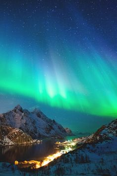 A quiet moment of Northern Lights in the Lofoten Islands of Norway. By Chris Burkard. Aurora Borealis, Wonderful Places, Beautiful Places, Lofoten Islands Norway, Northen Lights, National Geographic Travel, See The Northern Lights, Sky Landscape, Natural Phenomena