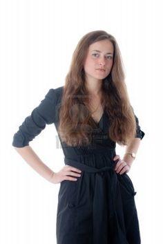 Ritratto della ragazza in un abito nero Archivio Fotografico