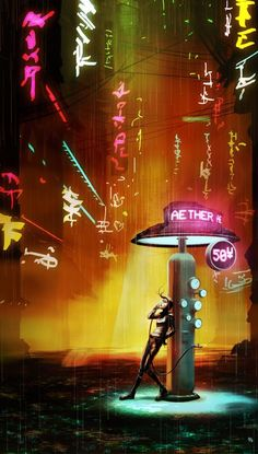 Future public phones, covered in graffiti, notes, and stickers. Cyberpunk, Neo-Noir (*Switch Aether to Energy and darken the whole thing. Cyberpunk Games, Cyberpunk City, Futuristic City, Steampunk, Blade Runner, Dreamland, Space Opera, Cyberpunk Aesthetic, Neon Noir