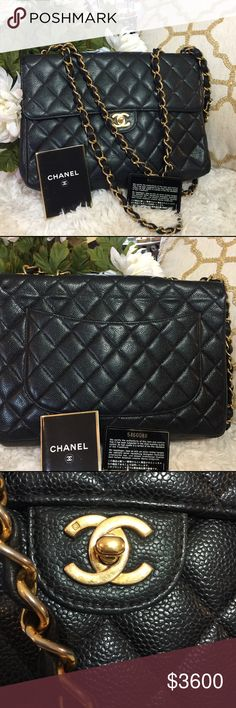 CHANEL Black Caviar Jumbo Quilted Flap Bag This Chanel classic jumbo flap with gold CC's from the timeless quilted classic collection is available for sale. Normal sign of wear. Small Scratches/scuffing are found inside on the leather along with few makeup stains. Slight fading on the hardware. CHANEL Bags Shoulder Bags