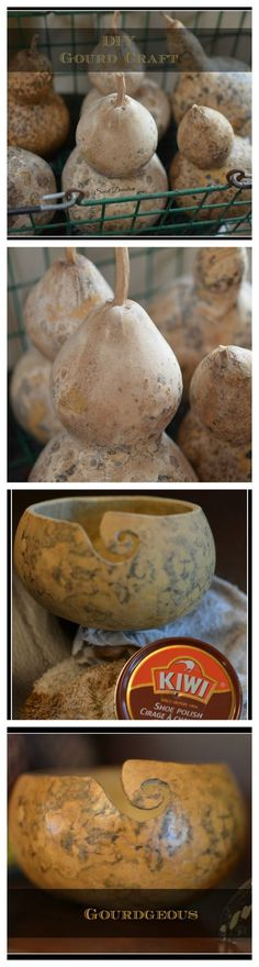 How to make a gourd into a yarn bowl. 30 minute craft (gourd growing time not included) www.sweetdeviation.com