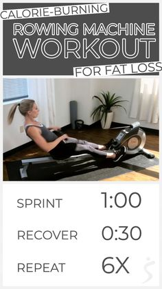 Calorie Burning Workout – Rowing Machine Weight Loss [For beginners – advanced] Burn calories and lose fat fast with this rowing machine interval workout. Complete 6 intervals on the rower, pushing your speed and. Calorie Burning Workouts, Fat Burning Workout, Fun Workouts, At Home Workouts, Elliptical Workouts, Rower Workout, Bed Workout, Dumbbell Workout, Post Workout