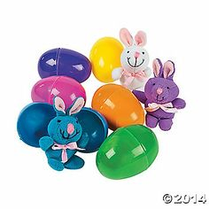 Plush Bunnies in Bright Easter Eggs $15/doz
