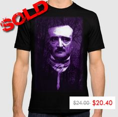 Poe T-Shirt by Scar Design.  Up To $6 Off + Free Worldwide Shipping on Accessories! Save on Totes, Pouches, Phone Cases, Mugs and more until Midnight PT! #EdgarAllanPoe #Poe #PoeTshirt #poetshirt #tshirt #discount #save #sales #gifts #salesgifts #bargain #society6 #freeshipping #cooltshirts #writer #writergifts #giftsforhim #giftsforher #PoeFans #gofthic #gothicgifts