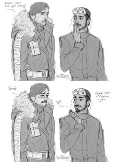 Anonymous said: For requests can you do something with Cassian and Bodhi like Diego and Riz with blowing kisses? Anonymous said: What about Bodhi giving Cassian a fortune kiss? ✨