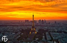 This picture of Paris shows not only the Eiffel Tower but also the city behind it. Madi Nomura