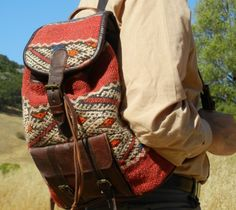Kilim and Soft Dark Brown Leather Backpack