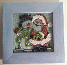 The pictures are embroidered with Czech beads on fabric. The size without frame is 13cm (5) x 18cm (17) Wooden handmade frame. EXPRESS SHIPPING