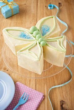 Butterfly cake perfect for a girls birthday party. Recipe to bake and instructions for decorating, including cutting guide