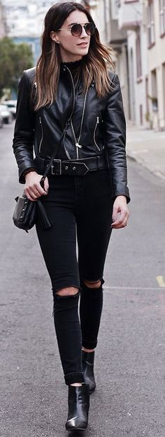 Thrifts And Threads Leather Moto Jacket All In Black Fall Street Style Inspo