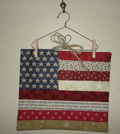 Small USA flag Quilted wall hanging wire by CountryStittches, $11.00