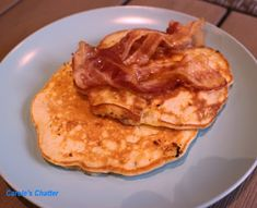 Carole's Chatter: Coconut Milk Banana Pancakes with Maple Syrup & Bacon Banana And Rice, Banana Pancakes, Maple Syrup, Milkshake, Coconut Milk, Quotations, Bacon, Cooking, Breakfast