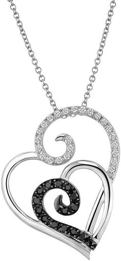 Two Hearts Forever One Sterling Silver 1/4-ct. T.W. Round-Cut Black & White Diamond Swirl Heart Pendant