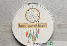 cross stitch pattern dreamcatcher, home sweet home,modern cross stitch, native american, teal-orange, PDF pattern ** instant download**