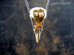 "Bronze Raven Skull Necklace on 24"" Chain"