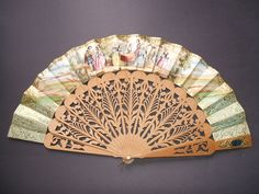 1850, 1855, craved sandalwood , mirror, and lithographed paper, hand fan