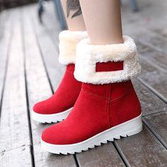 adba09b972 Fur Solid Winter Warm Soft Flat Boots Térdig Érő Csizma, Kari, Karácsony,  Divattervezők
