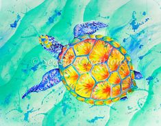 Sea Turtle Print for Beach House Decor by SeaSideCreations1