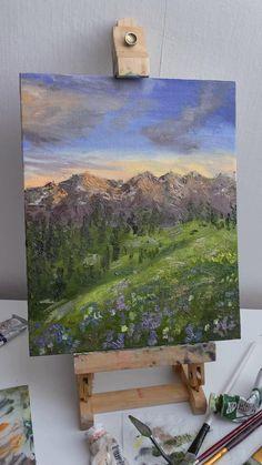 Mountains sunset landscape oil painting by Liza Shiyanova