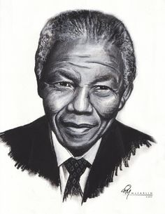 Tim McFarlin captures Nelson Mandela perfectly in this pencil and charcoal portrait.