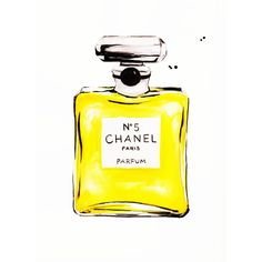 Chanel No 5 in Yellow Print of Original Watercolor Illustration ($10) ❤ liked on Polyvore featuring home, home decor, wall art, yellow home accessories, chanel, yellow wall art, watercolor illustration and paper wall art