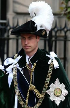 Royal family take part in ancient Knights of the Thistle service - Prince William and the royals wore traditional hats for the service, complete with impressive pluma -