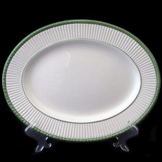 Rare! Vintage Wedgwood platter, cream with green trim