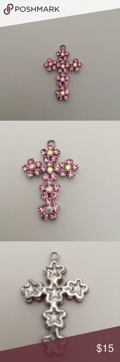 Cross with Swarovski crystals Beautiful metal  cross with pink Swarovski crystals, new ,bundle to save for shipping Jewerly Jewelry