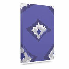 "Alison Coxon ""Denim Ikat"" Blue Gray Canvas Art"