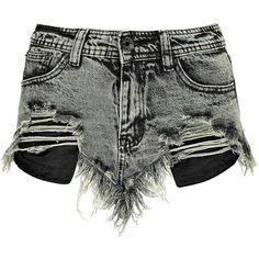 Boohoo Beth Grunge Wash High Cut Frayed Denim Shorts ($20) ❤ liked on Polyvore featuring shorts, bottoms, pants, short, basketball shorts, grunge shorts, denim shorts, short jean shorts and frayed shorts