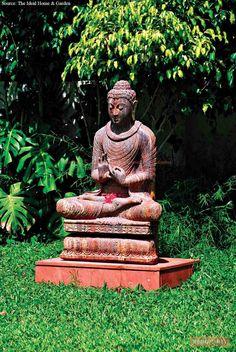 Buddha Decor, Beautiful Homes, Palette, Colours, Statue, Blue Orange, Green, Outdoor, Blog