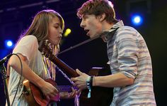 Indio, CA — Tiffany Lamson and Taylor Guarino of the indie pop band #Givers perform at the #Coachella Music and Arts Festival.