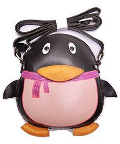 PurseWorld Women's Handmade Leather Black Penguine Shoulder Bag (black)
