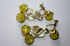Vintage Earrings Yellow Lucite Enamel Lemon Dangle by patwatty, $3.00