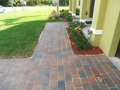 Olde Towne Heritage walkway installed by Genesys Pavers. Green Collection, Hardscape Design, Backyard Design, Brick Pavers, Outdoor Living, Retaining Wall