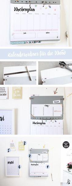 DIY Kalenderordner / Organize-Wall – home office organization diy Diy Calendar, School Calendar, Folder Organization, School Organization, Home Management, Free Prints, Getting Organized, Room Inspiration, Back To School