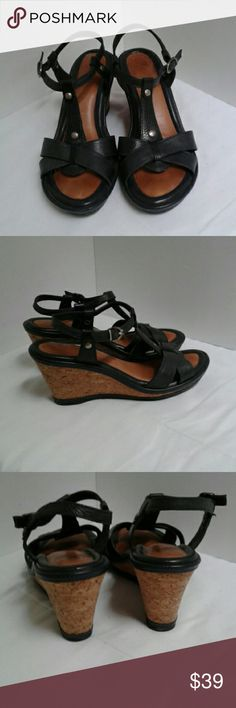 Nurture Women's Black Sandal Cork Wedge Heels 8 Nurture Black leather ,Cork wedge heels Sandals. Buckle closures. Open toe.Size 8 M.  Embossed leather upper. Silver hardware details. Some tarnish.on the silver . These shoes will look great with any outfit ! Smoke free Closet! Nurture Shoes Sandals