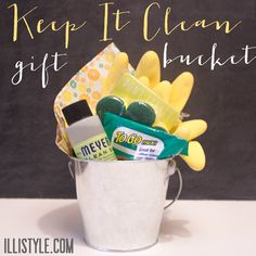 New Neighbor gift or going-to-college gift - keep it clean bucket - illistyle.com