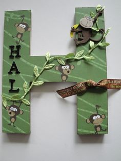 Childrens Nursery Letter, Single Initial, Kids Room Decor,Personalized, Monkey Theme,Holiday Gift, 3D Custom Wall Letter. $19.99, via Etsy.