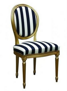 Attrayant Louis Xvi Chair With Navy Stripes (maybe Do In High Gloss White Instead Of  Gold