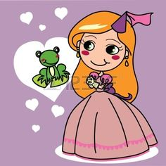 Cute girl in pink princess dress wanting to kiss a frog prince Vector