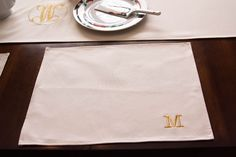 Monogram Natural Cotton Place-Mat Set of 2 (Pre-Order) Ships October by TwinStitchesMonogram on Etsy